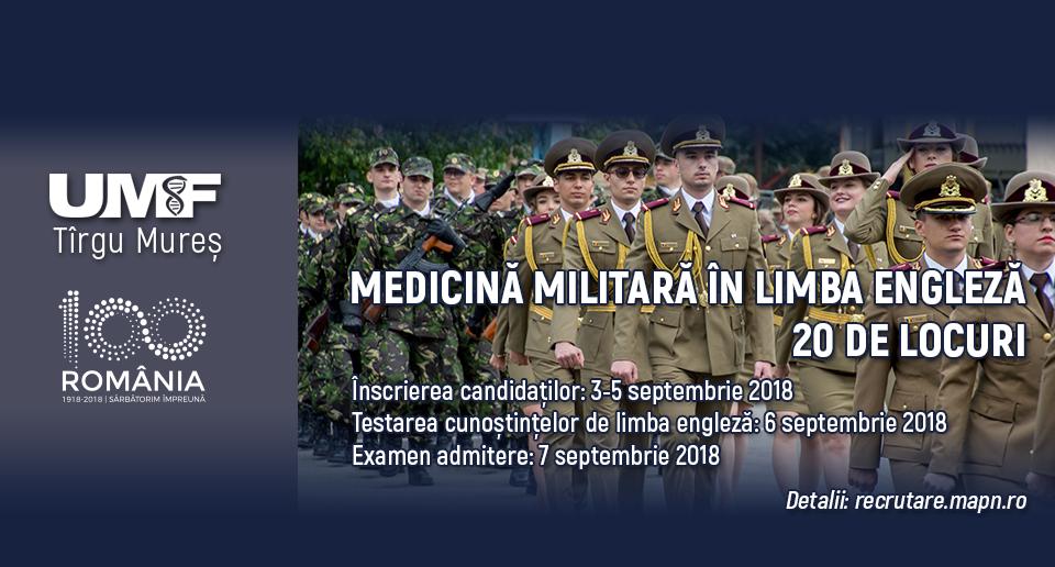 Precizări importante privind recrutarea candidaților la Medicină Militară în limba engleză