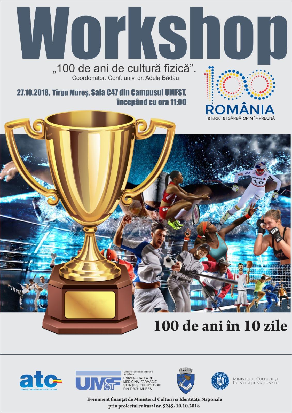 """Workshop cu tema """"100 de ani de cultură fizică"""", la UMFST Târgu Mureș"""