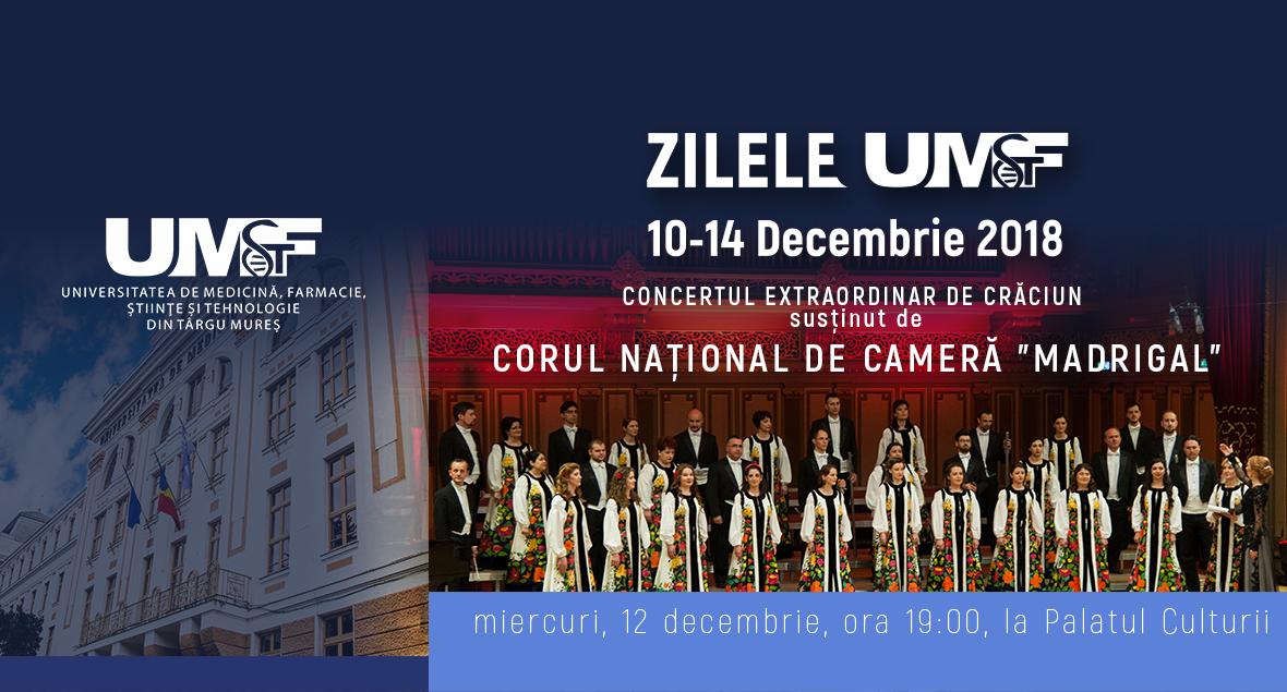Corul Madrigal, concert extraordinar de Crăciun, cu prilejul Zilelor UMFST