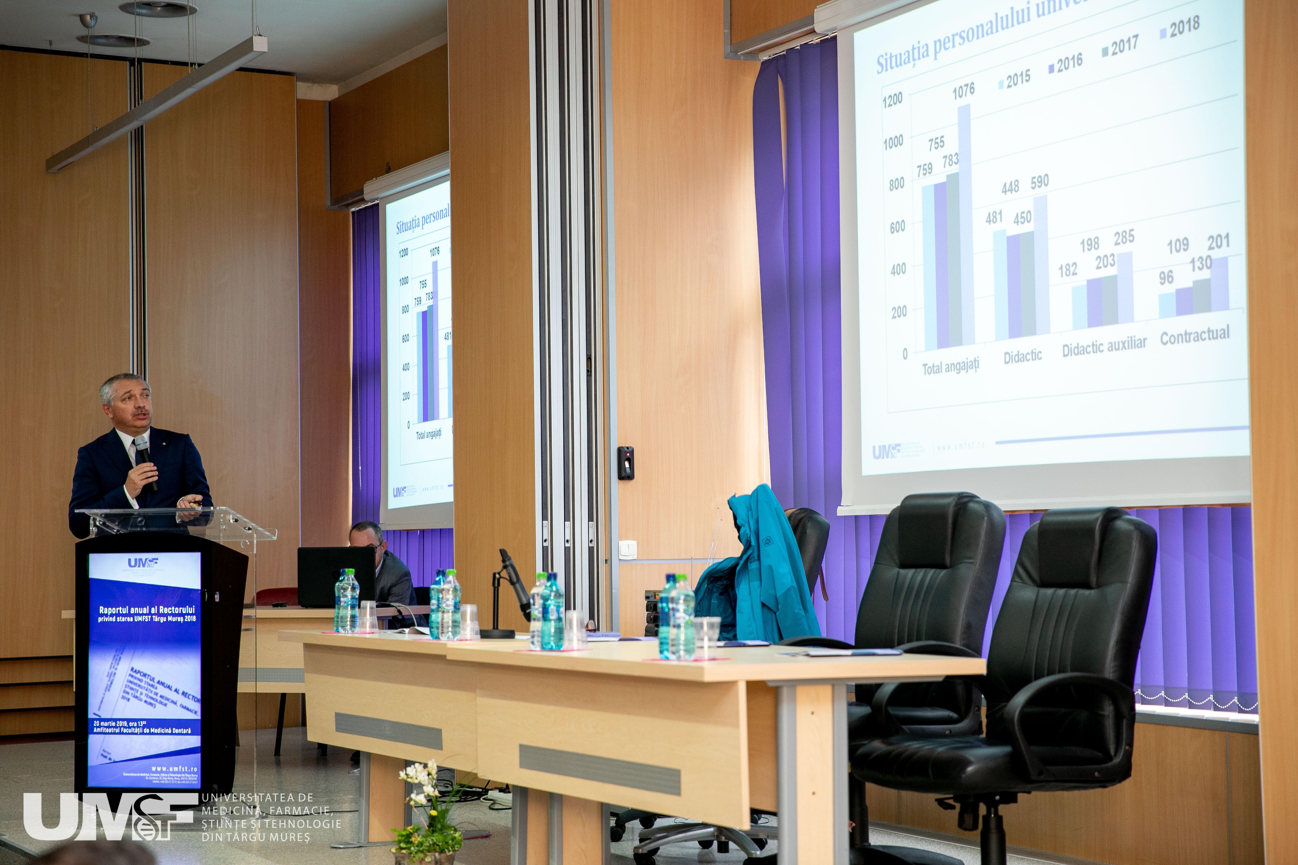 Raportul Rectorului UMFST Târgu Mureș privind starea Universității în anul 2018, prezentat comunității academice