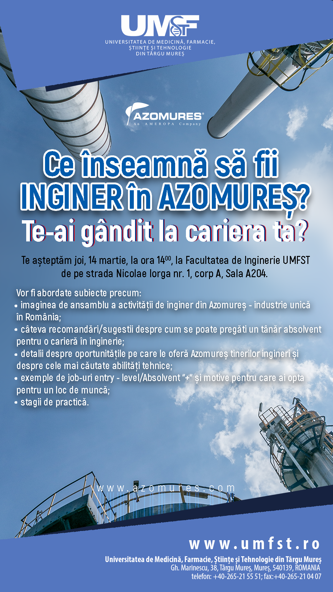 Ce înseamnă să fii inginer în Azomureș? Te-ai gândit la cariera ta?