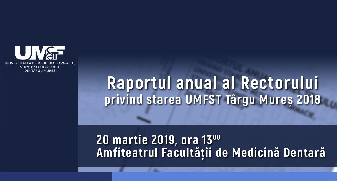 Prezentarea Raportului anual al Rectorului UMFST Târgu Mureș