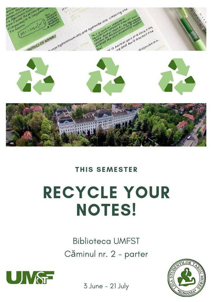 #RecycleYourNotes. Studenții UMFST Târgu Mureș, încurajați să recicleze materialele de studiu utilizate în sesiune