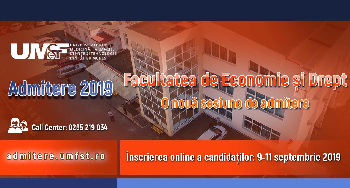 Banner admitere septembrie Facultatea de Economie si Drept