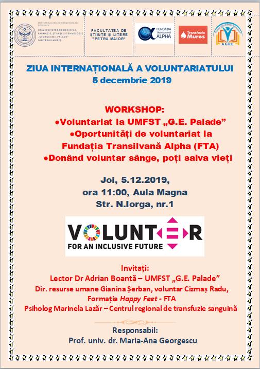 Ziua Internațională a Voluntariatului va fi marcată la UMFST Târgu Mureș