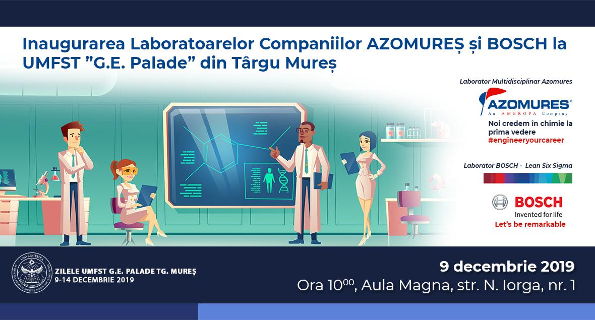 """Laboratoare didactice AZOMUREȘ și BOSCH, inaugurate la UMFST """"George Emil Palade"""" din Târgu Mureș"""