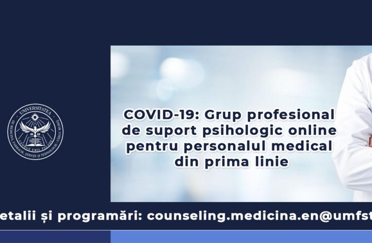 COVID-19. UMFST anunță formarea unui grup profesional de suport psihologic online pentru personalul medical din prima linie