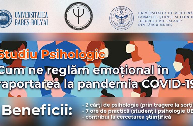 Colaborare UBB – UMFST. Studiu psihologic privind felul în care se raportează oamenii la pandemia COVID-19