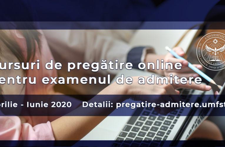 """Cursuri de pregătire online pentru examenul de admitere la UMFST """"George Emil Palade"""" din Târgu Mureș"""