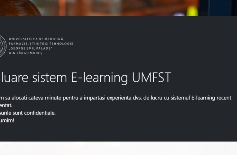 Chestionar online despre experiența cu sistemul E-learning