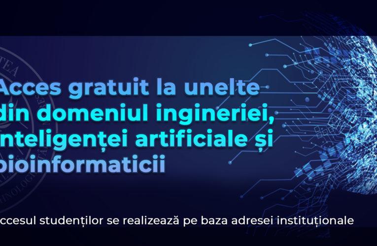 Acces gratuit pentru studenți la unelte din domeniul ingineriei, inteligenței artificiale și bioinformaticii