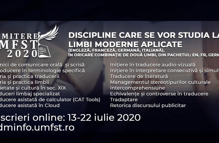 Limbi moderne aplicate (engleză, franceză, germană și italiană) la UMFST!