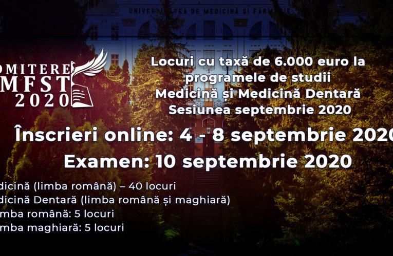 Locuri cu taxă de 6.000 euro la programele de studii Medicină și Medicină Dentară – Septembrie 2020