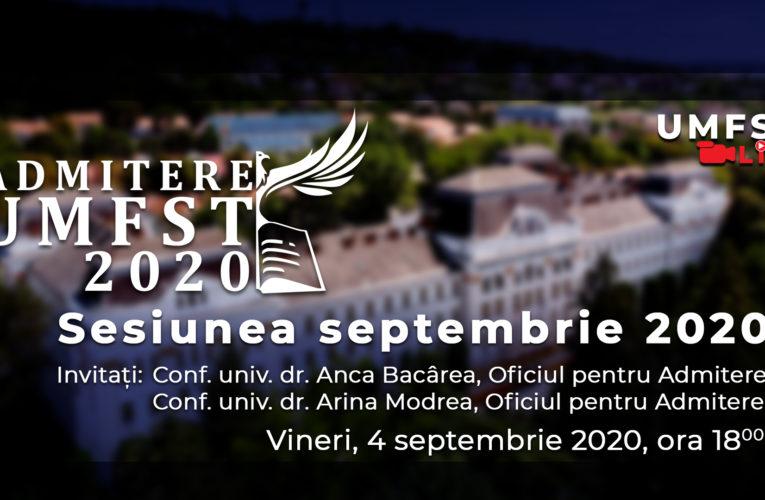 Admitere UMFST – sesiunea septembrie 2020