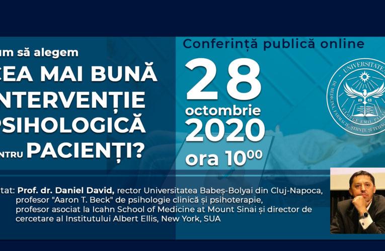 Conferință online pentru studenții UMFST. Cum să alegem cea mai bună intervenție psihologică pentru pacienți?