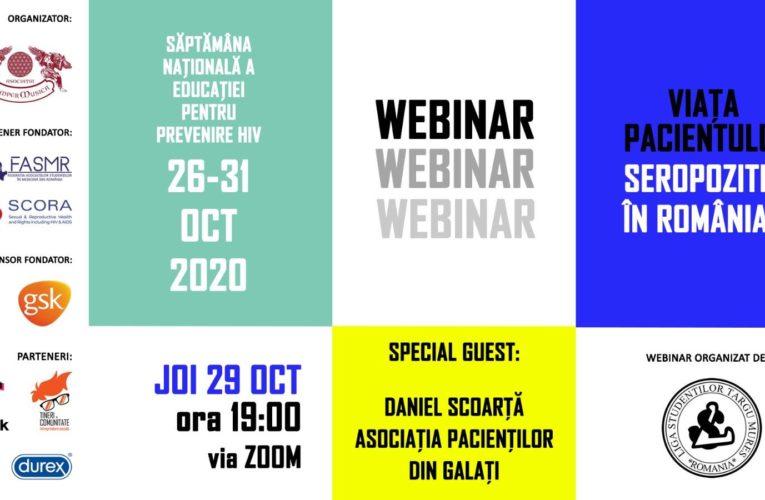 """Educație pentru sănătate. Webinar cu tema """"Viața pacientului seropozitiv în România"""""""