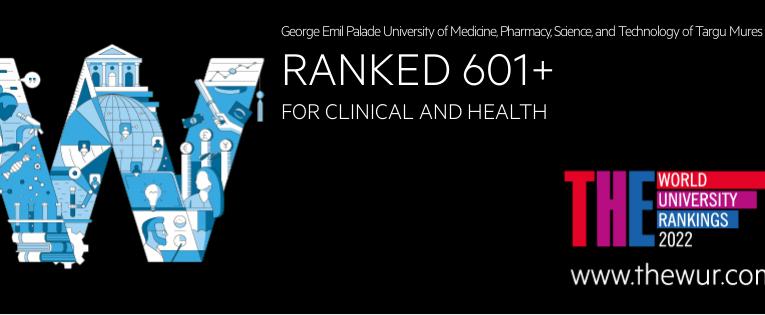 UMFST – poziția 601+ în clasamentul internațional Times Higher Education (THE) World University Rankings 2022 – domeniul medical