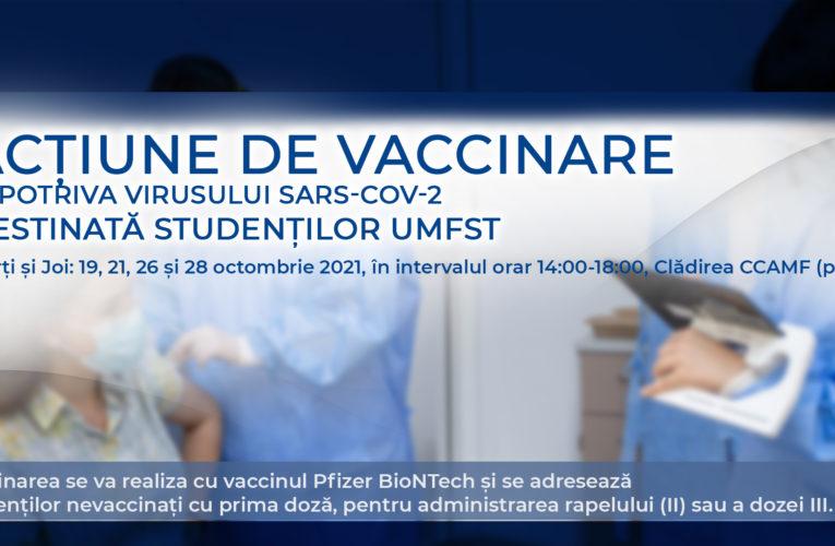 Acțiunea de vaccinare, destinată studenților UMFST, continuă în zilele de marți și joi, pe 19, 21, 26 și 28 octombrie