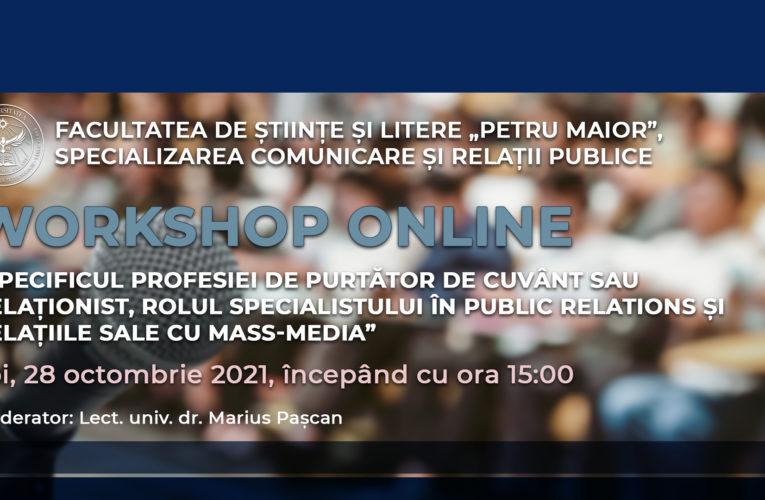 Workshop online dedicat studenților specializării Comunicare și Relații Publice